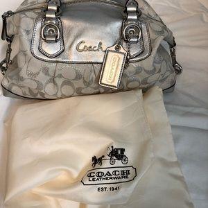 COACH silver and white handbag